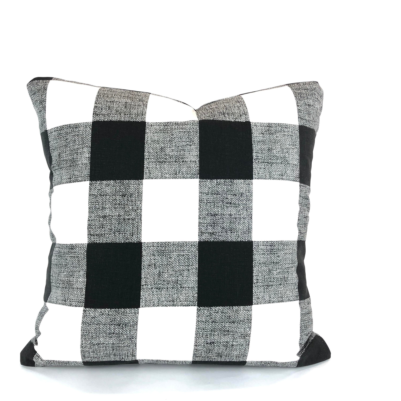 Farmhouse Black White Buffalo Check Pillow Cover Decorative Throw Pillows Cushion Covers Black And White Plaid Pillow Various Sizes