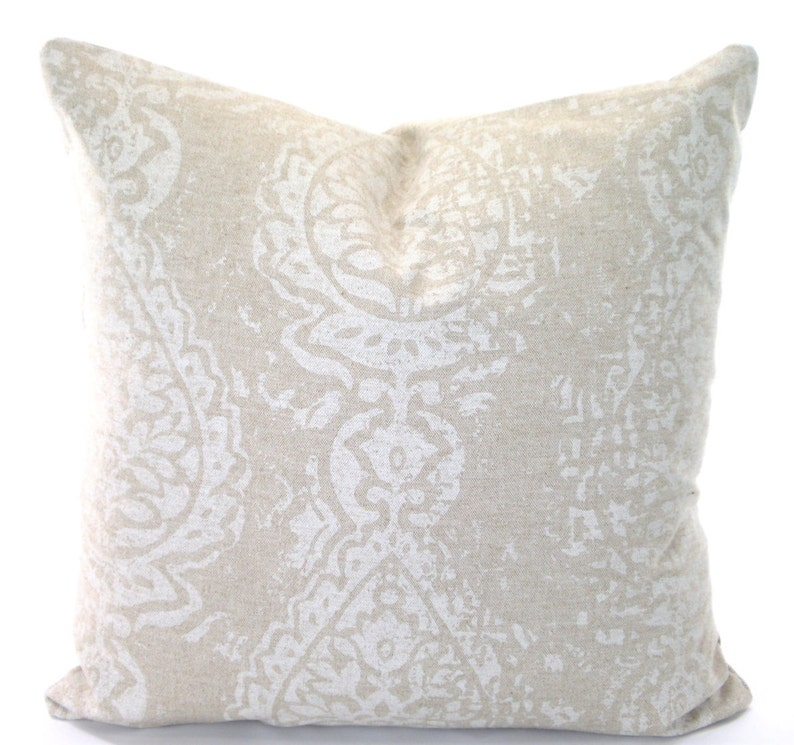 Astounding Tan Off White Throw Pillow Covers Cushions Farmhouse Tan Off White Damask Manchester Linen Look Tone On Tone Pillows Couch Bed All Sizes Caraccident5 Cool Chair Designs And Ideas Caraccident5Info