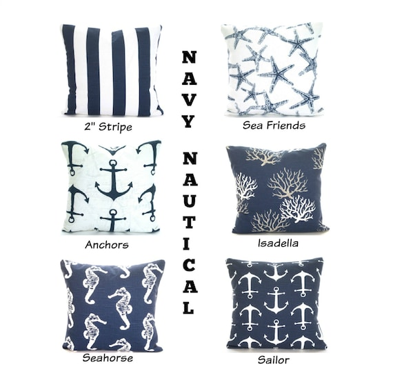 Navy Blue Nautical Throw Pillow Covers Navy Cushions Etsy Gorgeous Nautical Decorative Pillow Covers