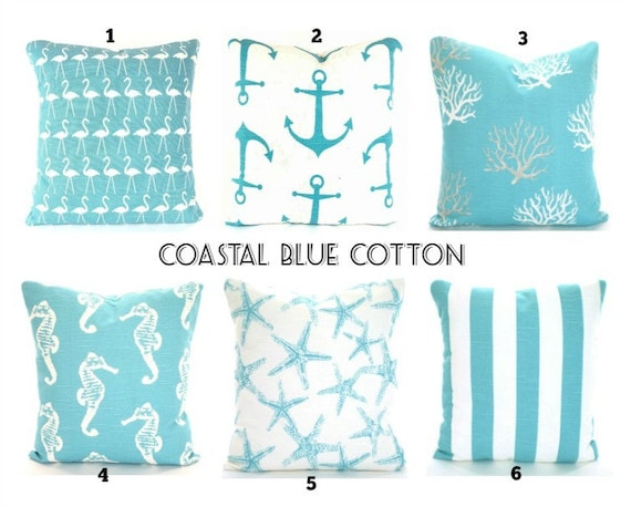 Coastal Blue Nautical Throw Pillow Covers Aqua Cushions Etsy Beauteous Coastal Throw Pillow Covers