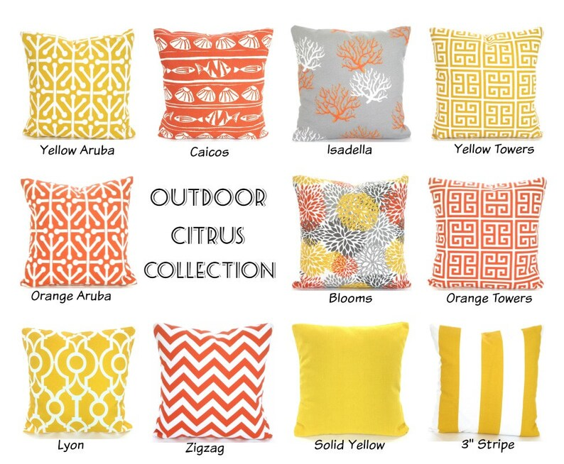 Outdoor Throw Pillow Covers Orange Yellow Gray Cushions Etsy