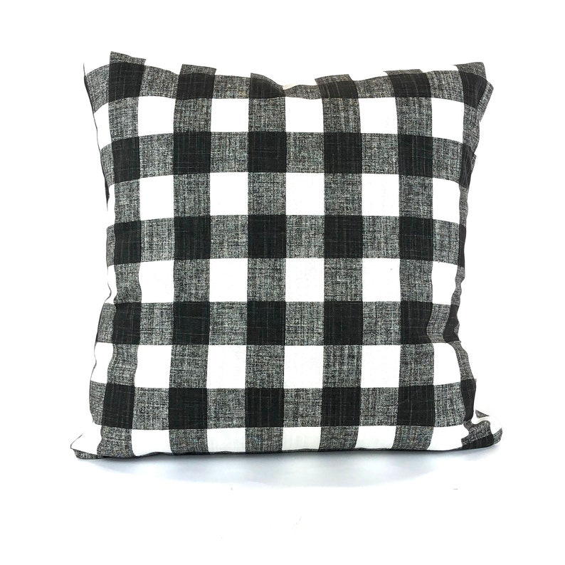 Marvelous Farmhouse Black White Buffalo Plaid Pillow Cover Decorative Throw Pillow Cushion Covers Ink And White Small Check Plaid Pillow Various Sizes Short Links Chair Design For Home Short Linksinfo