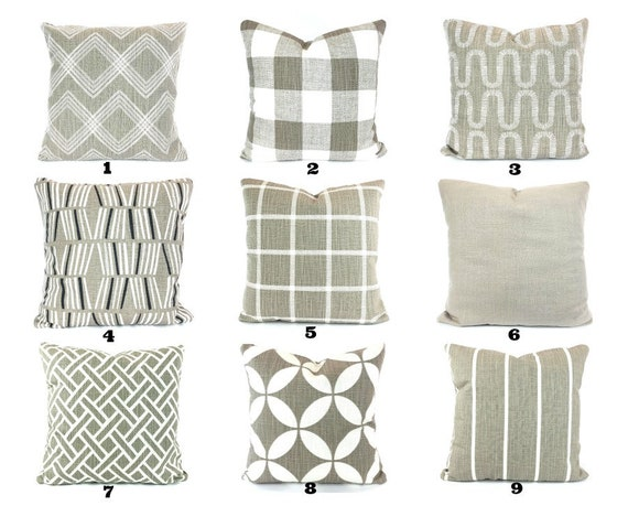 FARMHOUSE Taupe White Decorative Throw Pillow Covers Cushions Taupe Ecru White Check Plaid Abbot Couch Bed Sofa Taupe Cushions Various SIZES