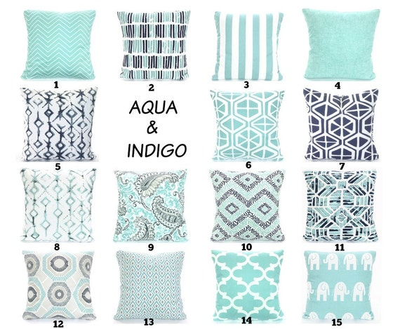 Amazing Aqua Navy Throw Pillow Covers Cushions Decorative Throw Pillows Pastel Aqua Indigo Navy Taupe White Couch Bed Sofa Blue Pillowsvarious Sizes Andrewgaddart Wooden Chair Designs For Living Room Andrewgaddartcom
