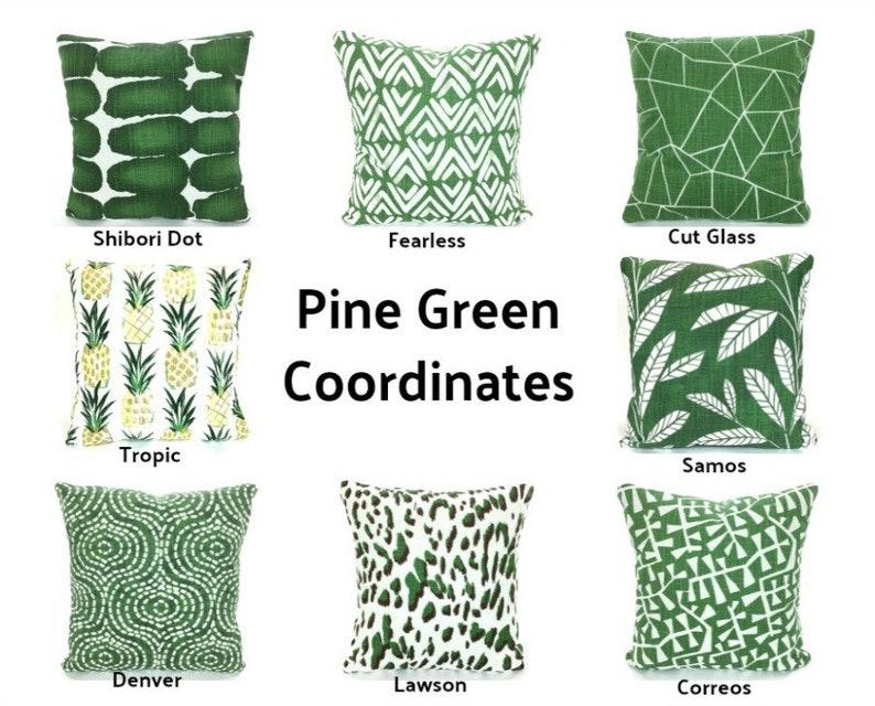 Green Throw Pillow Covers Cushions Decorative Throw Pillows Pine Green Tan  Brown Gray White Slub Canvas Geometric Mix & Match Various Sizes