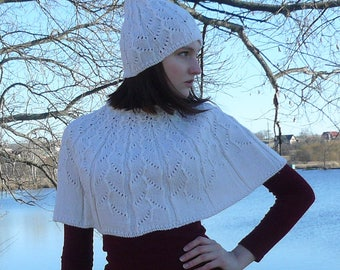 Knitted poncho for women White knit cape Womens capelet for her Gift idea for women Knit poncho Wool poncho for her Knit clothing