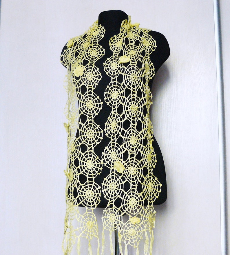 Linen Crochet Scarf Shawl For Her Yellow Cobweb Lace Scarf Etsy
