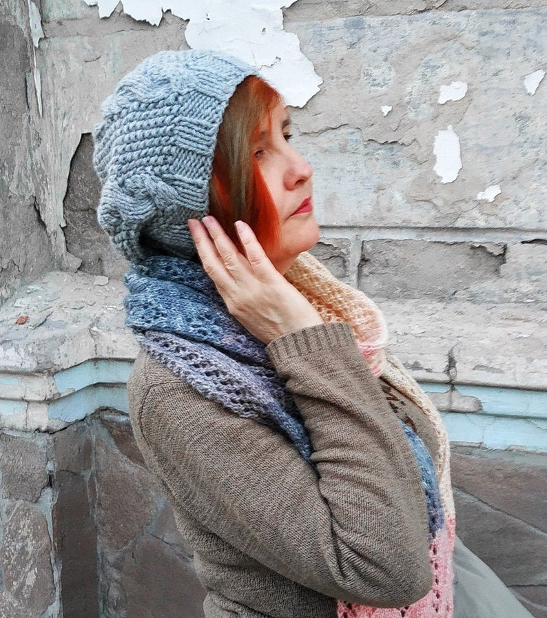 Ladies Girls Grey Marl Slouchy Beanie Hat One Size Knitted Winter