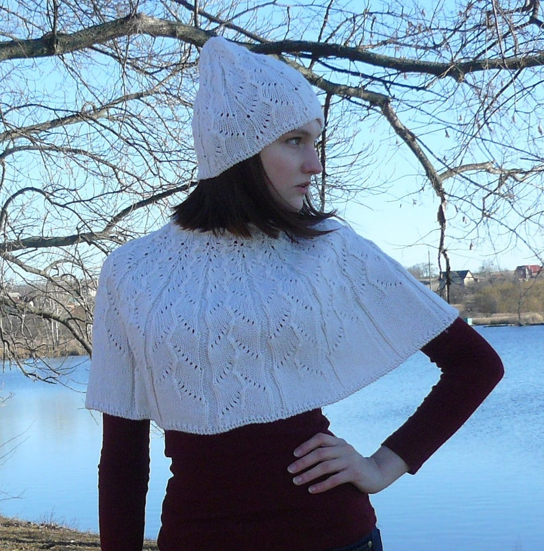 4a3f6b09f Knitted poncho for women White knit cape Womens capelet for her Gift idea  for wo... Knitted poncho for women White knit cape Womens capelet for her  Gift ...