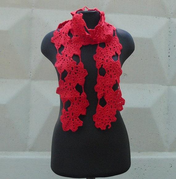 Merino Crochet Scarf Wrap Red Scarf Shawl Womens Wool Scarf Etsy