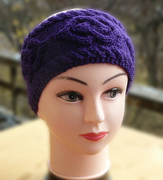 Knitted ear warmer headband Ultra violet hair band wrap for  f431226536e