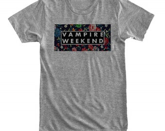 96fd81ff4d Vampire Weekend with floral background - Gray White Unisex T-Shirt - 038