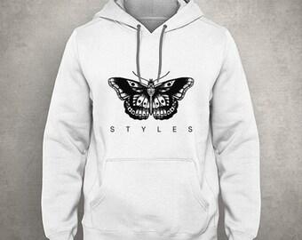 e052b97b8630 Styles Butterfly Tattoo - Gray White Unisex Hoodie - HOODIE-039