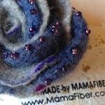 Woollen felted rose brooch - a beaded flower pin in dark blue-grey-purple