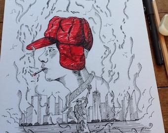 Holden Caulfield Catcher In The Rye Original Art Ink Art Etsy
