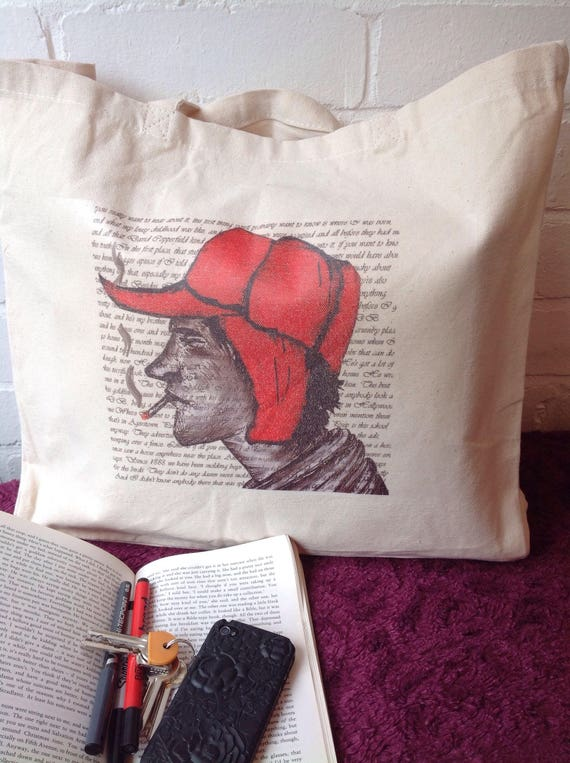 Cotton Tote Bag Holden Caulfield Catcher In The Rye Canvas Bag Shopping Bag Cotton Slipper Bag Cotton Gym Bag Holden Caulfield Art