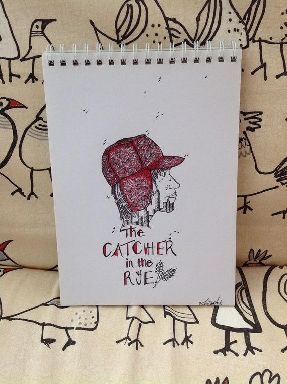 Holden Caulfield Catcher In The Rye Original Art Ink Art Holden Caulfield Art Trapper Hat Red Hat New York Skyline Statue Of Liberty Usa