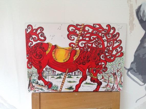 Catcher In The Rye Holden Caulfield Jd Salinger Holden Caulfield Art Red Horse Carousel Central Park Art New York Art American Literature