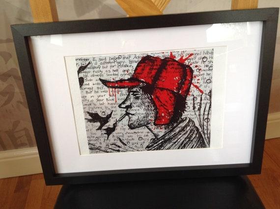 Holden Caulfield Catcher In The Rye Salinger Print Holden Print Caulfield Print Caulfield Art Holden Caulfield Art Red Hat Art Trapper Hat