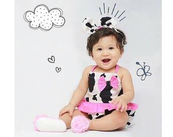 baby girl romper- baby romper- baby girl clothing- Ruffle Romper- Baby Romper for Girls- baby playsuit- cotton- Little cow print romper