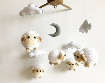 Baby mobile - Cute Sheep Moon & Cloud, Sheep baby mobile, crochet mobile, Nursery decor, Gift, Baby gift, Crochet amigurumi, felt mobile