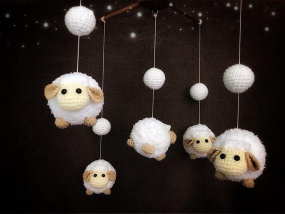Häkeln Babymobile Weiße Kugel Schafe Baby Mobile Krippe Etsy