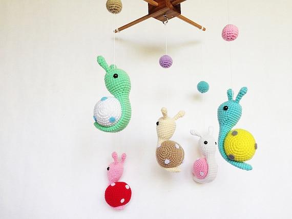 Colorful Snails Amigurumi Baby Mobile Etsy