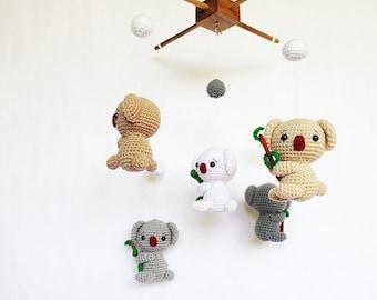 Baby mobile - Crochet Cute Koalas mobile, Koala baby mobile, Nursery decor,Koala crochet mobile, Baby crib mobile, Baby gift, Gift