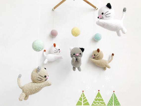 Crochet Baby Mobile Meow Meow Kitten Cat Baby Mobilecat Etsy