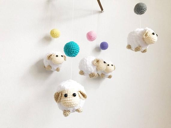 Häkeln Babymobile Bunte Kugel Schafe Baby Mobile Krippe Etsy
