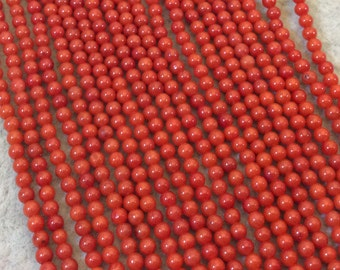 """2mm Smooth Dyed Red Sea Bamboo Coral Round/Ball Shaped Beads - 16.5"""" Strand (Approx. 213 Beads) - Natural Semi-Precious Gemstone"""