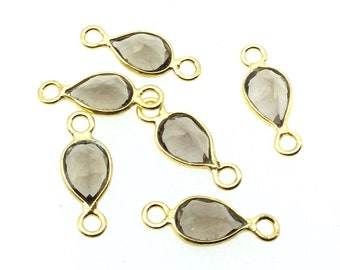 BULK LOT - Pack of Six (6) Gold Vermeil Pointed/Cut Stone Faceted Teardrop Shaped Clear Smoky Quartz  Bezel Connectors  Measures 4mm x 6mm