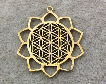 """1.25"""" Deep Gold Plated Sacred Geometry Flower of Life Shaped Copper Focal Pendant - Measuring 32mm x 32mm, Approx. - Sold Individually"""