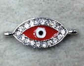 Small Red Enameled Silver Plated Copper Rhinestone Inlaid Evil Eye Shaped Focal Connector - Measuring 10mm x 18mm, Approximately