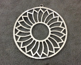 Large Silver Plated Daisy/Sunshine Cutout Circle Shaped Brushed Finish Copper Components - Measures 48mm x 48mm Sold in Packs of 10 (387-SV)