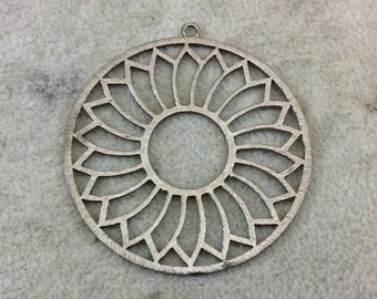 Large Gunmetal Plated Daisy/Sunshine Cutout Circle Shaped Brushed Finish Copper Components -Measuring 48mm x 48mm -Packs of 10 (337-GM)