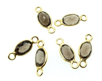 BULK LOT - Pack of Six (6) Gunmetal Vermeil Pointed/Cut Stone Faceted Oval Shaped Clear smoky Quartz Bezel Connectors  Measuring 4mm x 6mm
