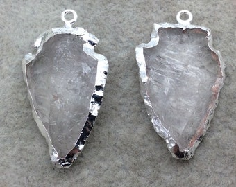"1-1.5"" Arrowhead Shaped  Electroformed Clear Quartz Pendant - Measuring 25mm-30mm Long, Approximately - Sold Individually, Randomly Chosen"