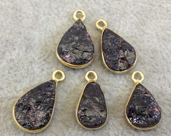 "Jeweler's Lot OOAK Gold Plated Dark Natural Raw Garnet Five Flat Back Assorted Free Form Copper Bezel Pendants ""RG13"" 12-15mm - As Shown!"