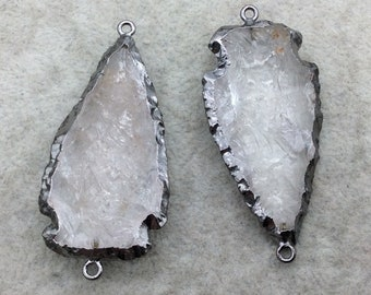 "2-2.5"" Arrowhead Shaped Gunmetal Electroformed Clear Quartz Connector - ~ 50mm-60mm Long, Approximately - Sold Individually, Randomly Chosen"