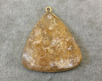"Jeweler's Lot Gold Plated Natural Raw Citrine - One Flat Back Free Form Copper Bezel Pendant ""RCT02"" - 30mm x 32mm Long - Sold As Shown!"