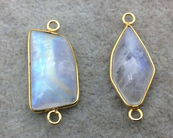 "Jeweler's Lot OOAK Gold Plated Smooth Natural Moonstone Two Flat Back Free Form Copper Bezel Connectors ""MJLC10"" 21-22mm - As Shown!"