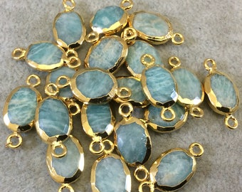 Single Gold Electroplated Natural Amazonite Horizontal Faceted Oval Shaped Connector - Two Sizes Available! Randomly Selected