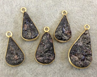 "Jeweler's Lot OOAK Gold Plated Dark Natural Raw Garnet Five Flat Back Assorted Free Form Copper Bezel Pendants ""RG12"" 16-22mm - As Shown!"