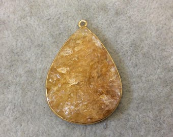 "Jeweler's Lot Gold Plated Natural Raw Citrine - One Flat Back Free Form Copper Bezel Pendant ""RCT08"" - 27mm x 35mm Long - Sold As Shown!"
