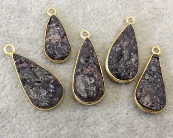 "Jeweler's Lot OOAK Gold Plated Dark Natural Raw Garnet Five Flat Back Assorted Free Form Copper Bezel Pendants ""RG06"" 17-22mm - As Shown!"