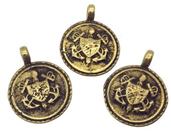 """3/4"""" Oxidized Gold Plated Rustic Cast Shield/Coat-of-Arms Design Copper Round/Disc Pendant W Attached Ring  - 18mm Diameter, Approximately"""