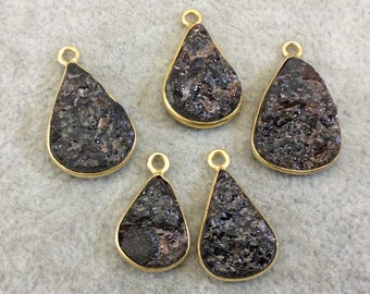 "Jeweler's Lot OOAK Gold Plated Dark Natural Raw Garnet Five Flat Back Assorted Free Form Copper Bezel Pendants ""RG10"" 14-18mm - As Shown!"