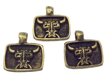 11mm x 15mm Oxidized Gold Plated Rustic Cast Bull/Dragon Icon Copper Rectangle Shaped Pendant with Attached Ring  - Sold Individually! (K-3)