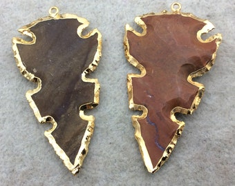 "1.75-2"" Gold Finish Notched Arrowhead Shape Electroplated Mixed Jasper Pendant EJ013S ~ 45mm-50mm Long - Per Each, Randomly Chosen"